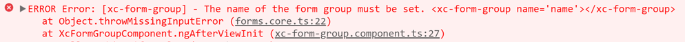 Image shows what the error looks like if the name input of our form group is not set.