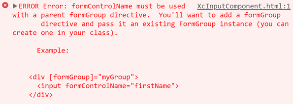 Error showing angular can not find the form group.