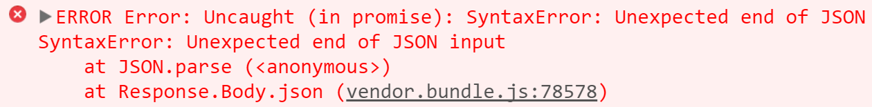 Error that resulted from attempting to convert the response body to