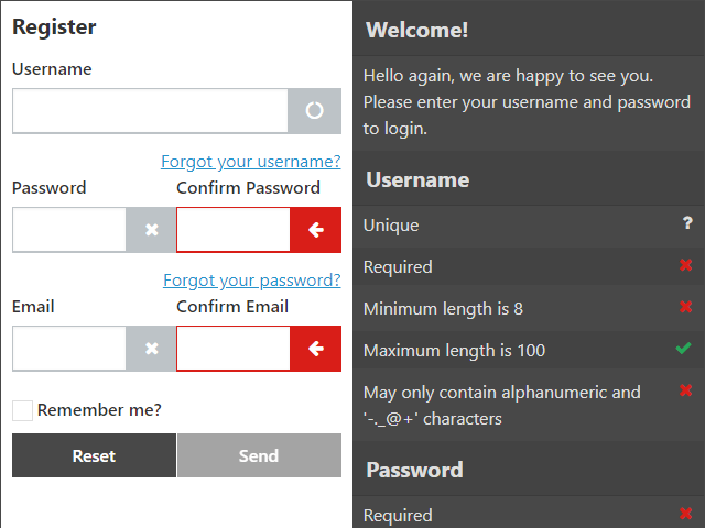 If the user is trying to register we display a different icon if we have not asked the server