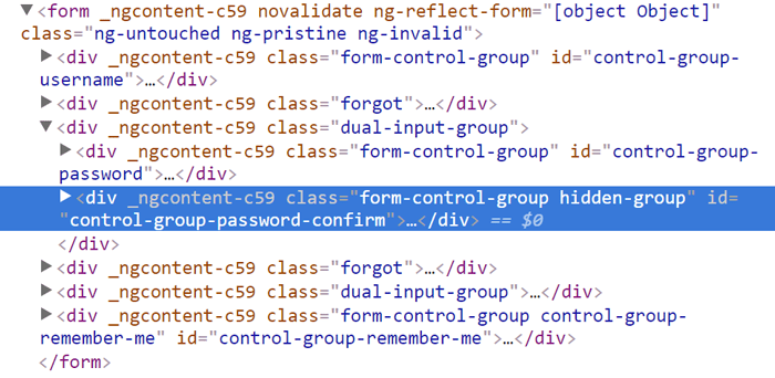 Image showing the password confirm control group has the 'hidden-group'