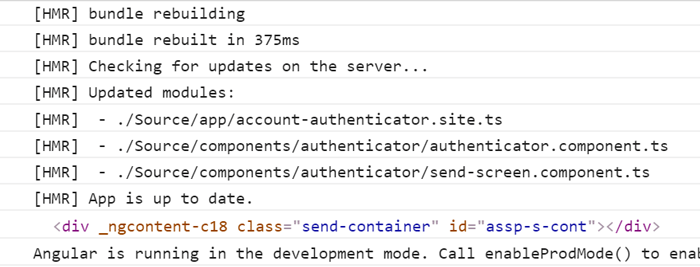 Console output showing the result of using the dom reader service to find
