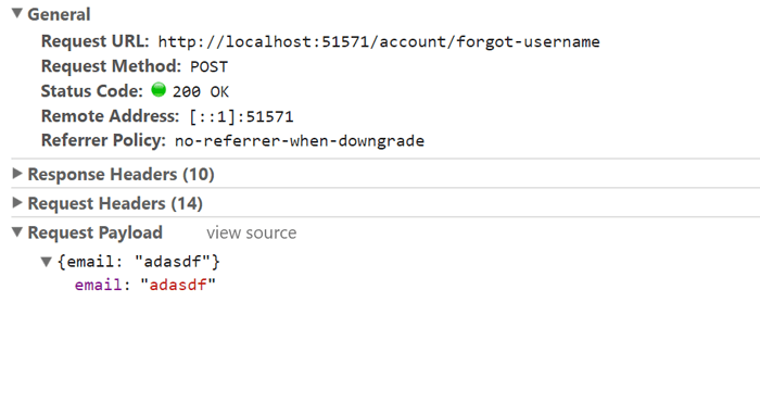 Example of sending in a forgot username request that shows we