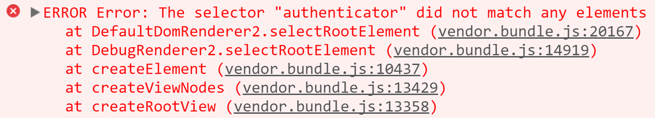 Angular selector not found error.