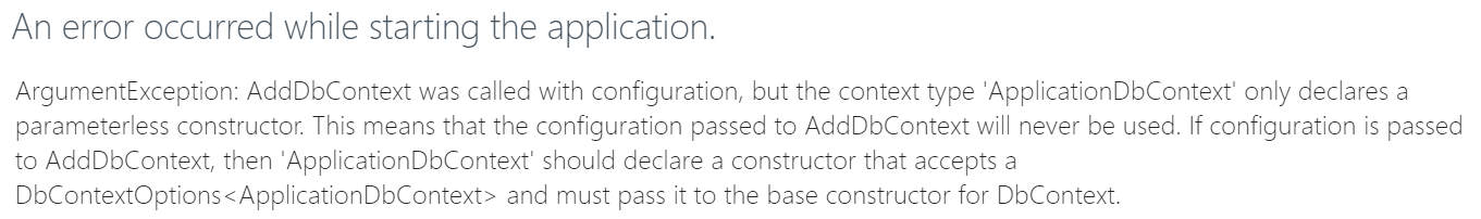 Error message telling us that we need to modify our application db context class