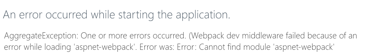 Error indicating we are missing a couple of npm packages.