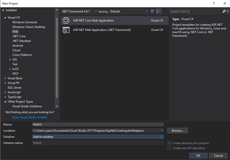 Visual Studio interface for creating an Asp.Net Core Web Application.
