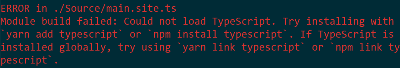 Error received by having a global installation of typescript, no local version within the