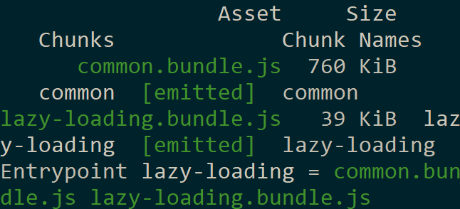 Console output showing the results of building our bundles. We are currently building two bundles, one for