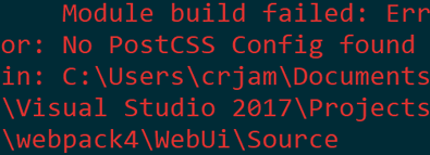 Error message telling us that in order to use the postcss loader we need to specify a configuration file.