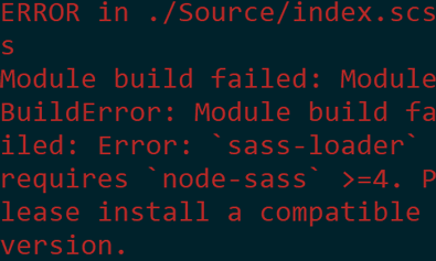 Error telling us that we need node-sass even though it is already installed.